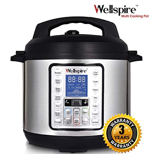 Wellspire Multi Cooking Pot Smart Electric Pressure Cooker (6 litres) with Instant 14-1 Single-Touch Functions, Slow Cook, Rice, Sauté, Yogurt, Poultry, Egg, Cake, Soup