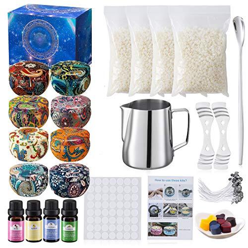 🍓[Un set di 123 scatole regalo per kit di candele fai-da-te] -1 barattolo di candela, 8 bicchieri di latta per candele, 1 agitatore, 2 dispositivi di centraggio dello stoppino, 4 bustine (contenenti 0,26 libbre di pura cera'api), 50 stoppini e 56 ade...