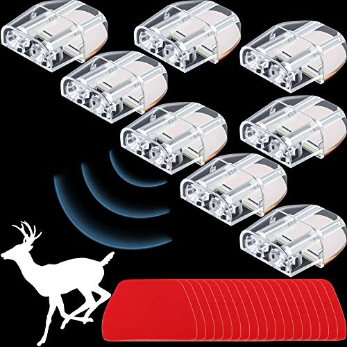 BBTO 8 Pieces Car Deer Warning Whistle Devices with Adhesive Tapes Dual Construction Repellent Animal Alert Horn Devices and Extra 20 Pieces Adhesive Tapes for Car Truck and Motorcycle (Transparent)