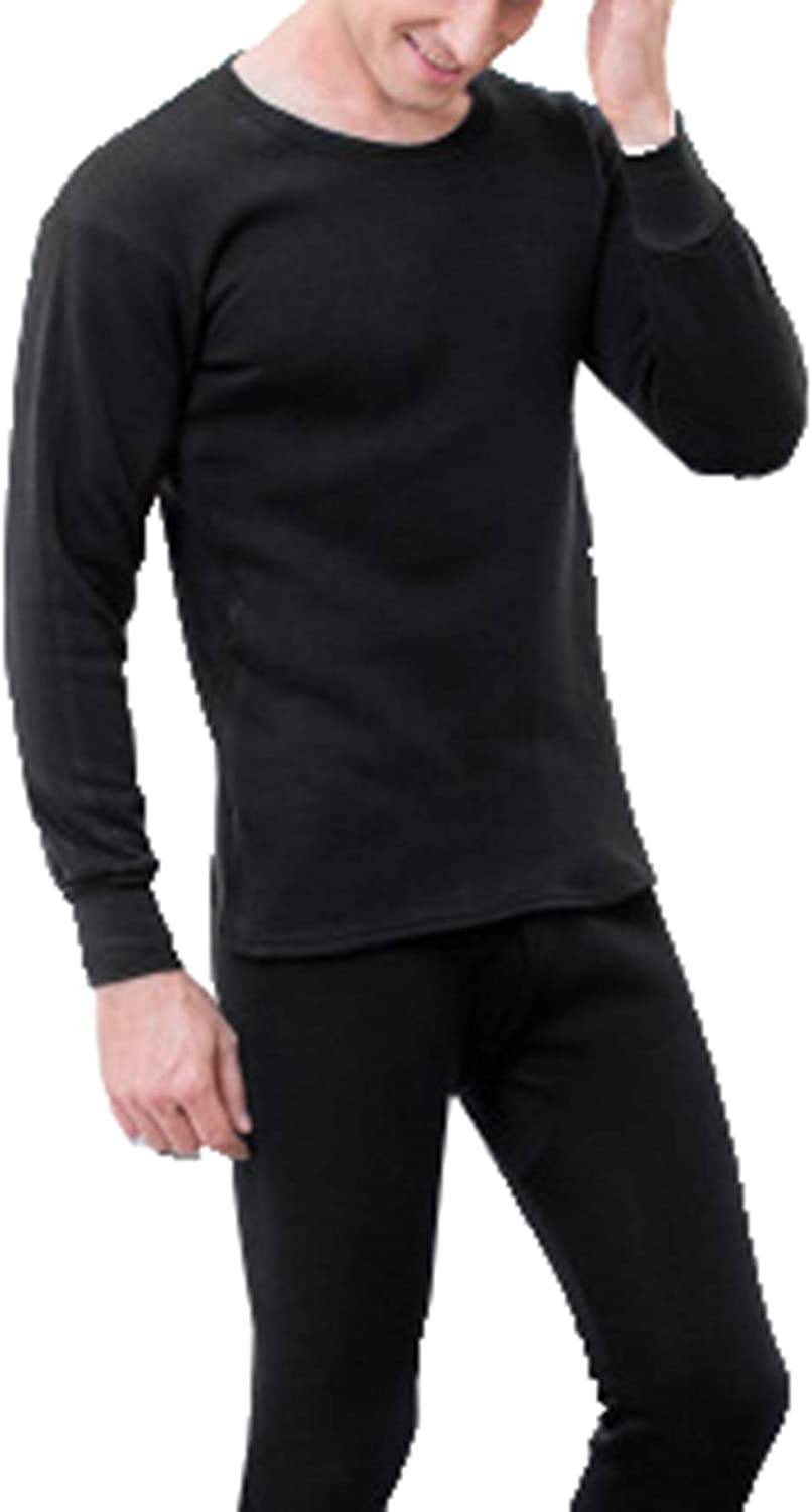 Seaoeey Men's Super Soft Warm Crew New Thermal Underwear Set Top and Bottom for Outdoor and Indoor