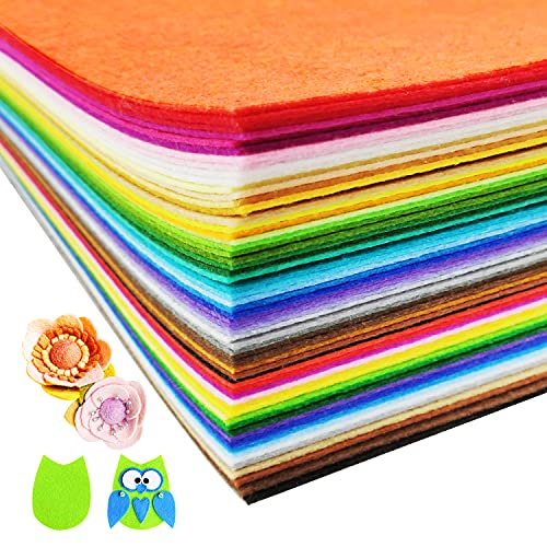60Pcs Felt Sheet Fabric for Crafts 8 x 12 Inches Assorted 40 Color 1mm Thick Soft Sewing Felt for Kids Arts Crafting Ornaments Projects Making.