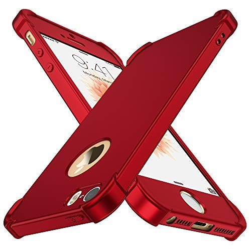 ORETECH iPhone 5 / 5S / SE (2016) Case,with [2 x Tempered Glass Screen Protector] 360° Full Body Ultra-Thin iPhone SE /5S / 5 Cover Anti-Scratch Hard PC + Soft Silicone Rubber iPhone SE Case -Red