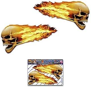 燃えるような頭蓋骨怖いスモールパック面白いジョークデカールステッカー車自転車ラップトップトラックオートバイボートキャラバン-ST00016TP_SML