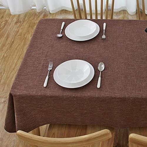 XQSSB Mantel Mesa Rectangular Resistente Al Desgaste de Lino de Algodón para Comedor Cocina o Salón Café Marrón 135 × 180cm