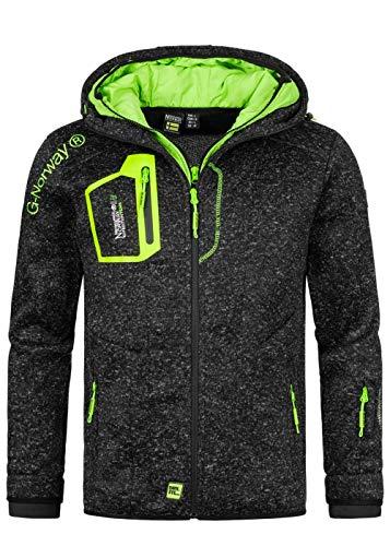Geographical Norway Herren Polar Jacke Zip Sweater Chest Zip Pocket Hoodie Front & Shoulder Print Sleeve Rupper Patch, schwarz, Gr:XXL