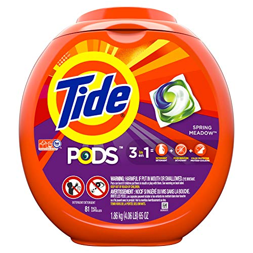 Tide PODS HE Turbo Laundry Detergent Pacs, Spring Meadow Scent, 81 count