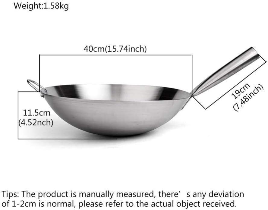 AXAA Wok en Acier Inoxydable - 36-43Cm / antiadhésif - Convient à Toutes Les plaques de Cuisson, y Compris l'induction - Poignées Stay-Cool, 36Cm, 36cm 40cm