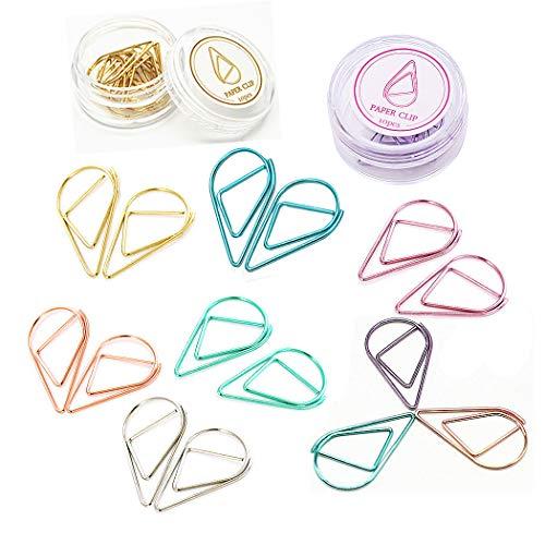 SIPLIV Multi kleuren Liefde Diamant Kroon Flamingos Ring Vorm Verschillende Paperclips Metaal Papier Clips voor School Kantoorbenodigdheden Bladwijzer Markering Clips Water drop shape