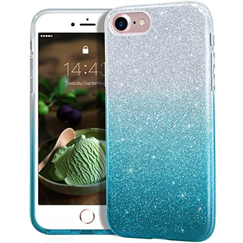 MATEPROX iPhone SE 2020 case,iPhone 8 case,iPhone 7 Glitter Bling Sparkle Cute Girls Women Protective Case for 4.7' iPhone 7/8/SE(Gradient Green)