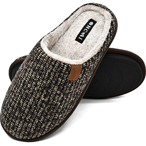 ONCAI Mens Slippers Brown Knit Stripes Cozy Memory Foam Scuff Slippers Slip On Warm Faux Fur House Shoes Indoor/Outdoor with Best Arch Surpport Size 13