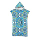 Stillshine Beach Towel Adult Robe Towel Poncho Hooded Blanket for Surfing Swimming Wetsuit Changing,Compact & Light Weight,Swimming Towel -Indian Bohemia Mandala (A)