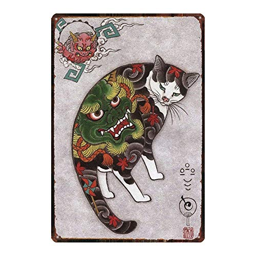 Samurai Cat Póster de Pared Metal Creativo Placa Decorativa Cartel de Chapa Placas Vintage Decoración Pared Arte Muestra para Bar Club Café