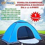 FP-TECH Tenda da Campeggio 3 4 6 POSTI Persone Canadese Automatica Igloo Gazebo Sacca (Tenda 3 Posti)