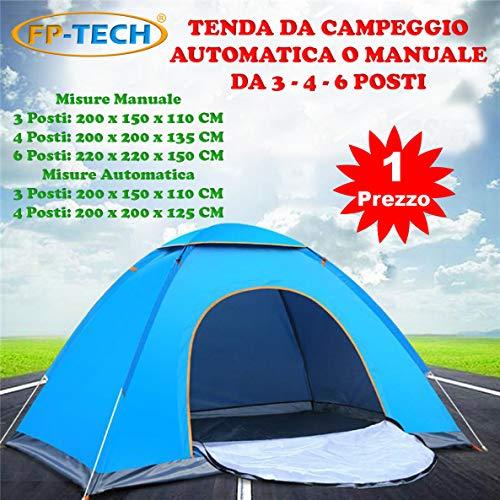 tenda da campeggio yuanj FP-TECH Tenda da Campeggio 3 4 6 POSTI Persone Canadese Automatica Igloo Gazebo Sacca (Tenda 3 Posti)
