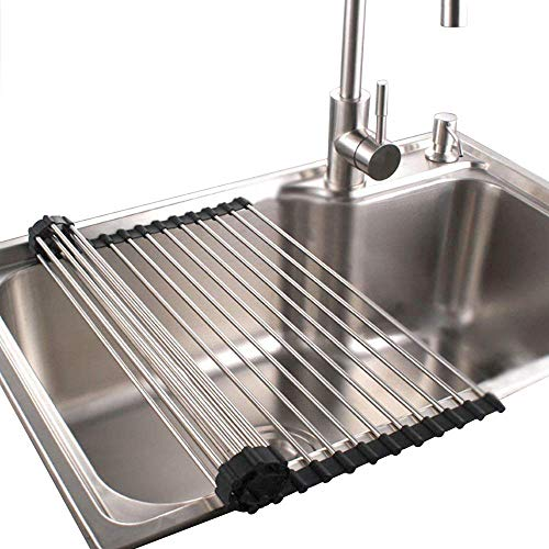 dish drainer for campers Dish Rack Sponge Holder Stainless Steel RV Roll up Shelf Over Sink Drainer for Recreational Vehicle Large (17.2x15.7x0.7) inch