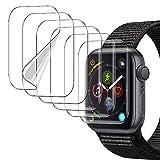 [6 Pack]UniqueMe Protector de pantalla para Apple Watch 38mm series 1/2/3, [Caso amistoso] [Película flexible] Soft HD Clear Anti-Scratch con