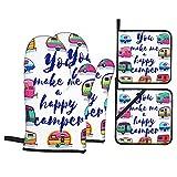 Set 4 guanti da forno e presine,You Make Me Happy Camper Motivational Quote con Caravan Retr,Guanti da cucina resistenti al calore per cucinare,cuocere al forno,grigliare,barbecue