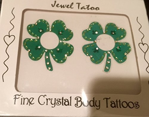 St.Patricks Day original CRYSTAL SHAMROCK NIPPLE COVERS WITH SWAROVSKI STONES BY DEFINITIONS (GREENH)