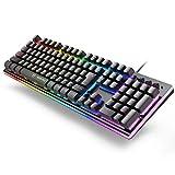 ゲーミングキーボード RGB1680万色 8種類LED色変え 3つライティングモード 最大9000万回使用寿命 106キー日本語配列 有線キーボード 25キー防衝突 防水仕様 Windows/Mac OS対応 仕事PC用/自宅ゲーム用 日本語説明書付き