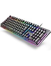 キーボード 日本語配列 ゲーミングキーボード 106キー 有線USBキーボード RGB1680万色 LEDバックライト 25キー防衝突 日本