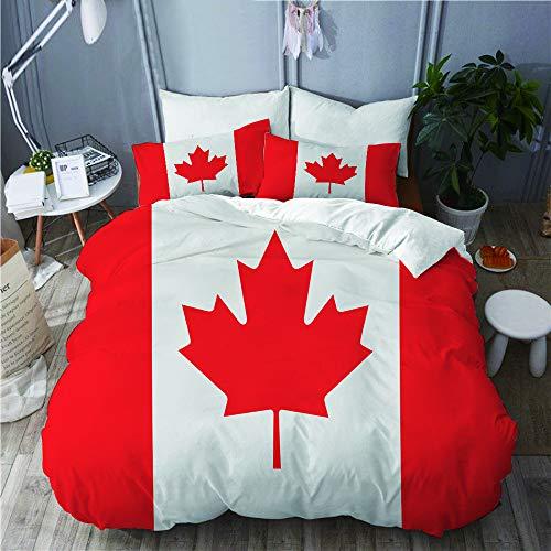 KIMDFACE Funda Edredón,Bandera de Canadá con transición de Color,Ropa de Cama Funda Nórdica,1(140x200cm)+2(50x80cm)