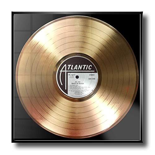 DISC´O´CLOCK AC/DC - Back IN Black: Rahmen mit Goldener Erinnerungsschallplatte! - Super Geschenk für Alles Fans, Musiker, DJs und Bands 24UHR MOGLICH! Made IN Italy