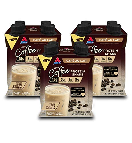 Atkins Iced Coffee Café au Lait Protein Shake. with Coffee and High-Quality Protein. Keto-Friendly and Gluten Free. (12 Shakes)