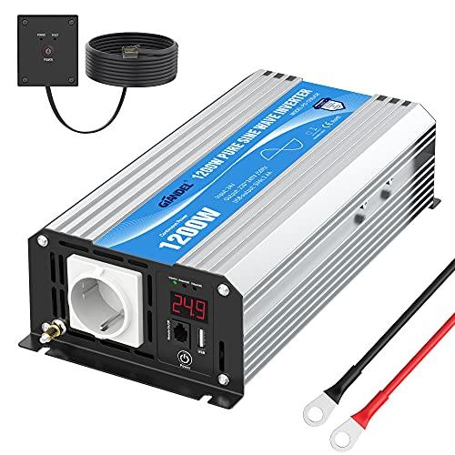 Wechselrichter 24V auf 230V Reiner Sinus 1200W Spannungswandler 24V 230V Umwandler-Inverter mit Fernbedienung und LED-Anzeige 2.4A USB-Anschluss AC-Steckdose für RV Auto Notfall GIANDEL