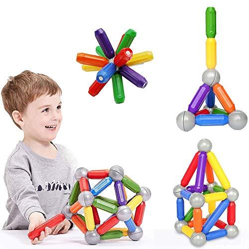 BMAG 46 PCS Magnetic Balls and Rods Set , Magnet Building Sticks Set, Building Blocks Tiles, STEM Stacking Toys for Kids,Juniors,Toddlers