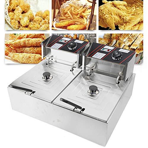 Freidora doble, 2 x 6 litros, freidora eléctrica de acero inoxidable, 5000 W, temperatura regulable de 60-200 °C