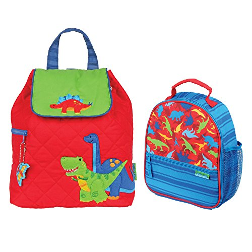 Stephen Joseph Boys Quilted Dinosaur Backpack and Dinosaur Print Lunch Box