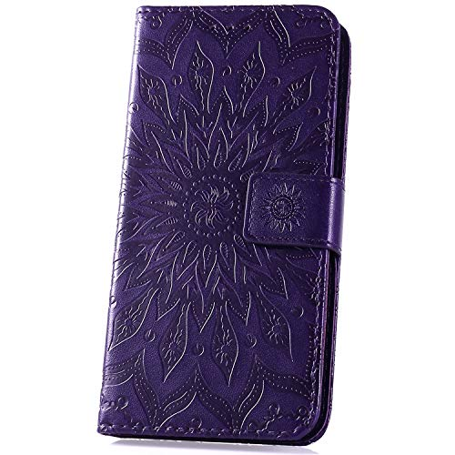 JAWSEU Compatible avec Note 7 Coque Portefeuille PU Étui Cuir à Rabat Magnétique Luxe Élégant Beau Tournesol Fleur Ultra Mince Stand Leather PU Flip Wallet Case,Violet