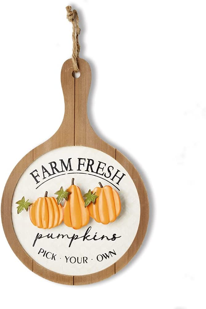 HOMirable Thanksgiving Pumpkin Décor Wooden Fall Sign Farm Fresh Pick Your Own Home Wall Décor Vintage Metal Hanging Decoration Autumn Harvest Halloween Farmhouse Signs