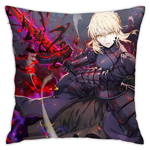 NIUPEE Fate Stay Night Alter Swing A Schwert Kissenbezüge Standardgröße quadratischer Polyester-Kissenbezug Kissenbezug für Sofa Couch Dekor Heimdekorationen 45,7 x 45,7 cm