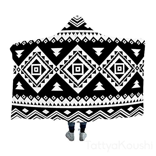 TattyaKoushi - Manta con capucha, diseño azteca floral, color blanco y negro, algodón, Estilo12, 40x51 Inch