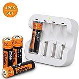 AA電池 単3 電池 単三型電池 3500mWh 1.5V 4本 充電器セット バッテリー ニッケル水素 XBoxコントローラー、おもちゃ、リモコン、懐中電灯 2時間 急速充電 (電池4本+充電器セット)