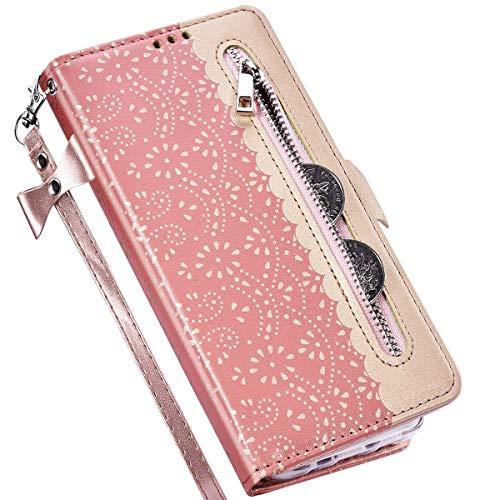 Kompatibel mit Samsung Galaxy A71 Hülle Leder Tasche Brieftasche Flip Wallet Case Schutzhülle Handyhülle,QPOLLY 3D Glitzer Blumen Muster Klapphülle mit Standfunktion für Galaxy A71,Roségold
