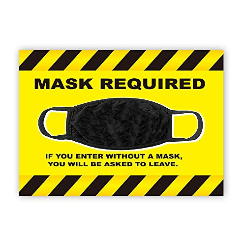 Large 8.3' x 11.8' Face mask Sign Sticker Vinyl Decal Mask | face mask Required Sign | Social distancing Sign face mask Required Sign for Business, Grocery Stores, Dr. Offices, Hospitals | Face Mask