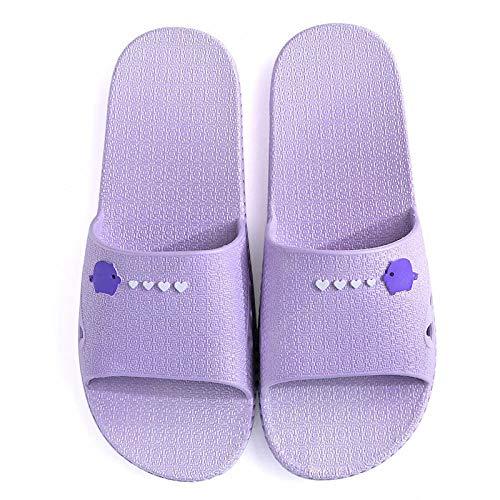 Anlemi Verano Zapatillas de Baño Antideslizantes,Pantuflas de Suela Blanda para el hogar Antideslizantes,Pantuflas de baño Que se Pueden Usar afuera-Purple_36-37,Zapatillas Baño Secado Rápido Piscina