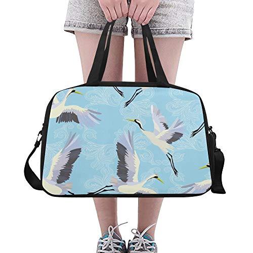 XiexHOME Mens Travel Duffel Retro Cute Egret Bird Flower Green Leaf Yoga Gym Totes Fitness Handbags Duffel Bags Shoe Pouch For Sport Luggage Womens Outdoor Ladies Handbags