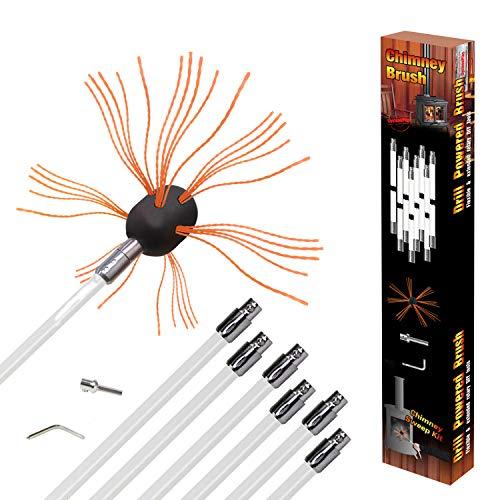 REALFLO 24-33フィート 煙突ブラシロッドキット 電気ロータリー ドリル ドライブ 掃除ツールキット ナイロンフレキシブルロッド付き (8〜10ロッド) 8 rods ホワイト unknown