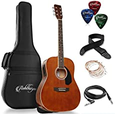 Ashthorpe Full-Size Dreadnought Acoustic-Electric Guitar Bundle - Premium Tonewoods - Brown