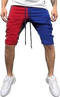 VPASS Pantalones Hombre,Verano Pantalones Casual Moda Trabajo Corta Pantalones Patchwork Pants Jogging Pantalon Fitness Pantalones Chandal Hombre Ropa de Hombre Pantalones de Playa