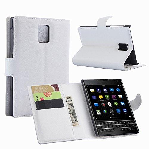 Ycloud Tasche für BlackBerry Passport (Q30) Hülle, PU Ledertasche Flip Cover Wallet Hülle Handyhülle mit Stand Function Credit Card Slots Bookstyle Purse Design weiß