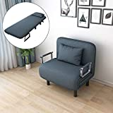 Sofa Chair Fold Out Bed Convertible Sofa Bed Folding Arm Chair Sleeper Recliner Lounge with Padded Pillow - Shipped from US (Blue)