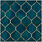 HaokHome 96034 Peel and Stick Wallpaper Graphic Trellis Sapphire Blue/Gold Removable contactpaper for Home Bathroom Decorations 17.7in x 118in