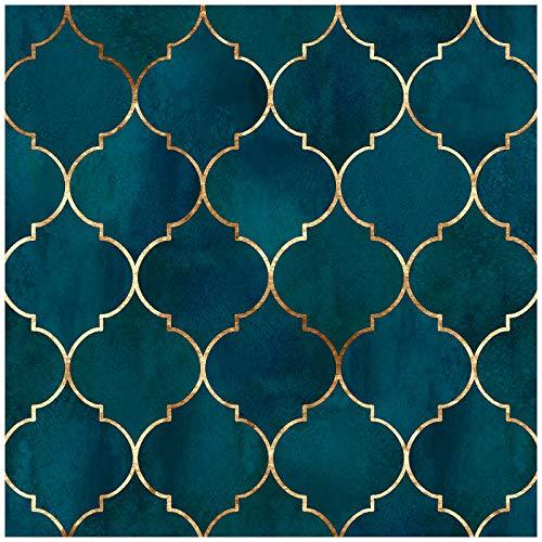 HaokHome 96034 Papel pintado para pegar y despegar gráfico, enrejado, color azul y dorado, papel de contacto extraíble para decoración de baño del hogar, 45 x 298 cm