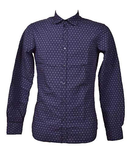 Aglini Herren Davidf816362 Blau Baumwolle Hemd