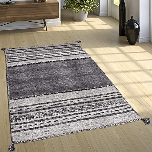 Paco Home Designer Teppich Webteppich Kelim Handgewebt 100% Baumwolle Modern Gemustert Grau, Grösse:60x110 cm