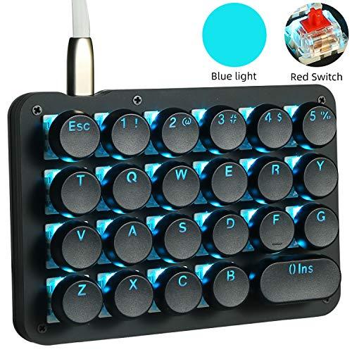 Teclado de juegos mecánico mecánico de una mano con retroiluminación LED RGB, 23 teclas totalmente programables con teclas de máquina de escribir clásicas retro redondas, interruptores rojos